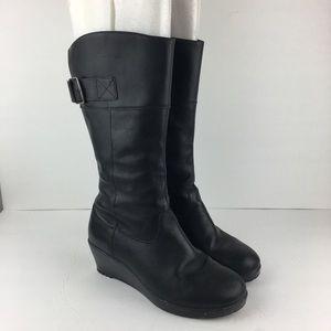 Crocs Black Tall Leather Boots Size 8
